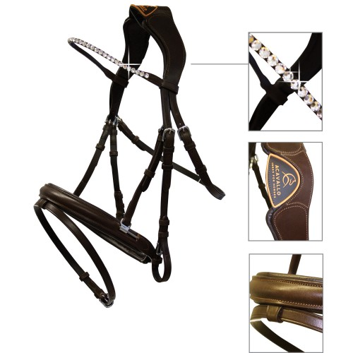 Acavallo Cupido Snaffle Bridle w/Anatomic Crown Brown Cob